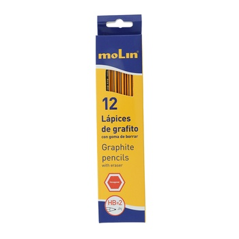 Molin HB Pencil With Eraser Box 12pcs Pack
