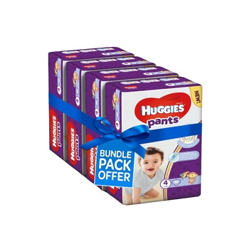 Huggies Active Baby Pants Diapers, Size 4, 9-14kg Mega Pack (Pack Of 144 Diapers)