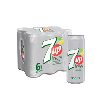7up diet carbonated can soft drinks 330ml pack of 6