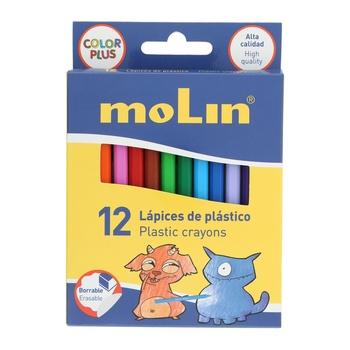 Molin Plastic Crayon Colors - 12pcs Box