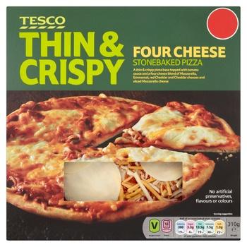 Tesco Thin & Crispy Four Cheese Stonebaked Pizza 310g