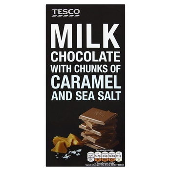 Tesco Milk Chocolate With Caramel & Sea Salt 100g