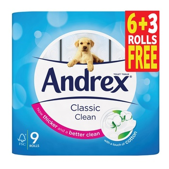 Andrex Toilet Tissue White 9 Rolls x 241 Sheets x 2 Ply  (6 + 3 Rolls Free)