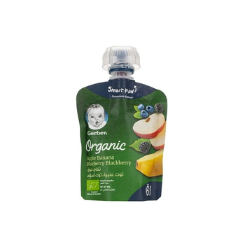 GERBER Organic Puree Apple Banana Blueberry Blackberry 90g