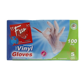 Fun Disposable Vinyl Gloves Small 100pcs