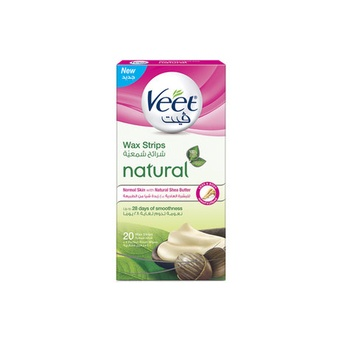 Veet Hair Removal Natural Legs Cold Wax Strips Shea Butter 20s
