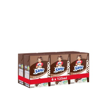 Safio chocolate flavoured milk 6x125ml