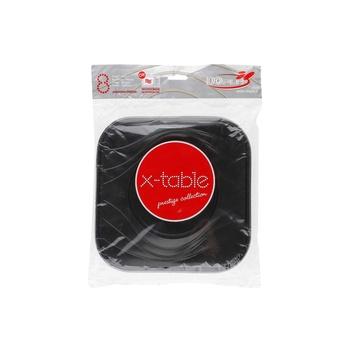 Dopla Disposables 8 Big Squared Plates 23x23 Black (80008)