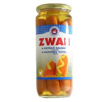 Zwan Hot Dogs Chicken Sausages 8 Sausages In Glass 520g