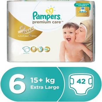 Pampers Premium Care Diapers  Size 6  Extra Large  15+ kg  Jumbo Pack  42 Count