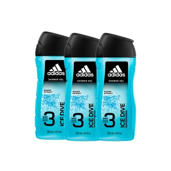 Adidas Ice Dive 3In1 Body Hair And Face Shower Gel For Him 250 ml Pack Of 3