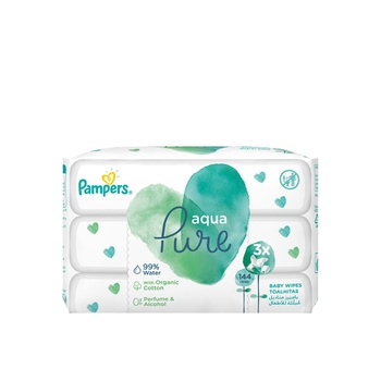 Pampers Aqua Pure Baby Wipes 144 Count 2+1
