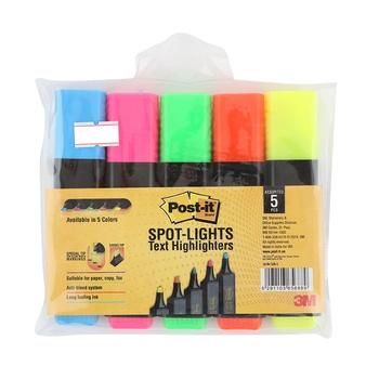 3M Scotch Post IT Highlighter- 5 pc pack.