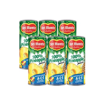 Del Monte 100% Pineapple Juice No Sugar 6 x 240ml