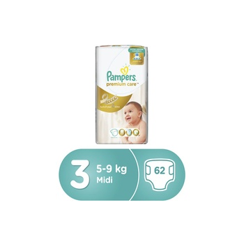 Pampers Premium Care Diapers, Size 3, Midi, 5-9 Kg, Value Pack, 62 Count @ 12% Off