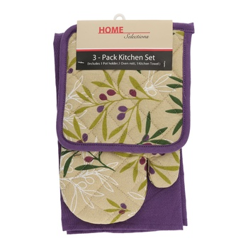 Home Selection Kitchen Towel 3 Pack-Purple