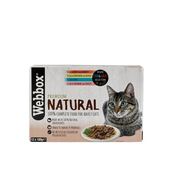 Webbox Natural Cat Food Meat & Fish In Jelly Selection 12X100g