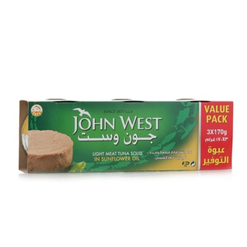 John West Light Meat Tuna Solid in Sunflower Oil 3 x 170g