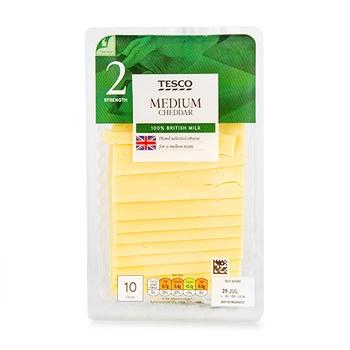 Tesco 10 Medium Cheddar Slices 250G