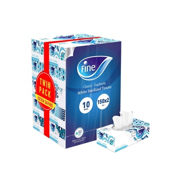 Fine Sterilized Facial Tissues Classic Euphoria 150 X 2 Ply White Tissues Pack Of 10