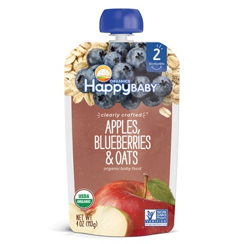 Happy Baby Organics Clearly Crafted Stage 2 Apples, Blueberries & Oats 113g Pouch
