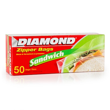 Diamond Sandwich Zipper Bags 50 Counts