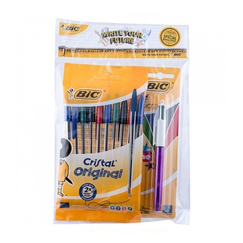 BIC Ball Pen 10Pc Assorted + 1 Shine Pen
