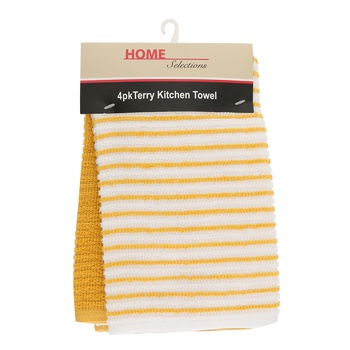 Home Selection Kitchen Towel 4 Pack-Yellow