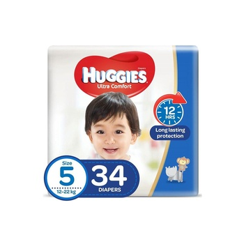 Huggies Ultra Comfort Diapers Size 5 12-22 Kg Value Pack 34 Diapers Pack Of 2