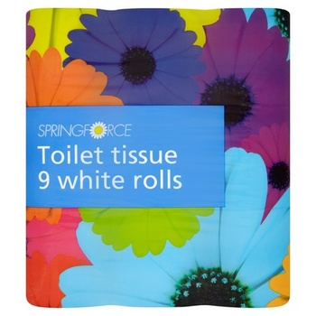 Spring Force Toilet Tissue White Roll 1x9s