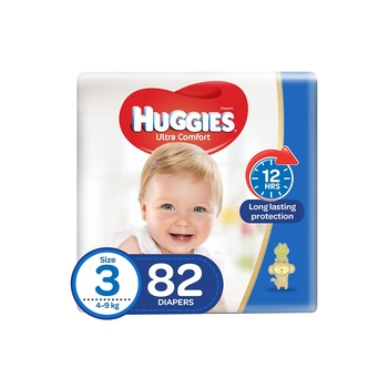 Huggies Ultra Comfort Diapers Size 3 Jumbo Pack 4-9 Kg 82 Diapers Pack Of 2