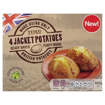 Tesco 4 Jacket Potatoes 800g