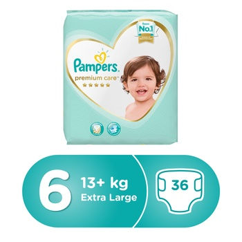 Pampers Premium Care Diapers  Size 6  Extra Large  15+ kg  Value Pack  36 Count