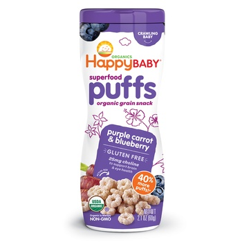 Happy Baby Organics Superfoods Puffs Purple Carrot and Blue Berry 60g