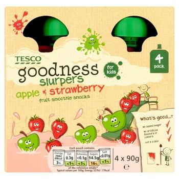 Tesco Goodness Apple & Strawberry Fruit Slurpers 4 X 90g