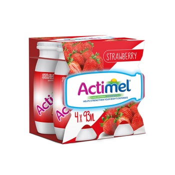 Actimel Strawberry Dairy Drink Multi Pack 4 X 93 ml
