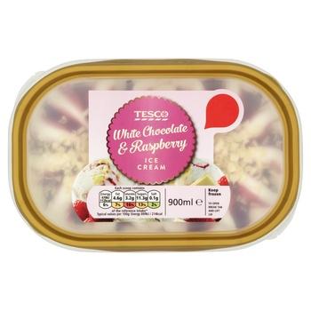 Tesco White Chocolate & Raspberry Ice Cream 900 ml