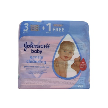 Johnsons Baby Gentle Cleansing 3+1 224 Wipes Pack