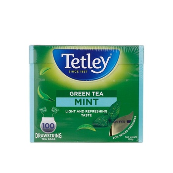Tetley Black Tea Bags Green Mint 100X1.5g