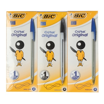 BIC Cristal Ball Pen Blue 20+Black 10 Pc