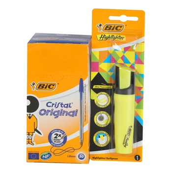 BIC Cristal Ball Pen 50P + 1 Highlighter