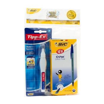 BIC Blue Ball Pen 12 Pc+ Correction Pen