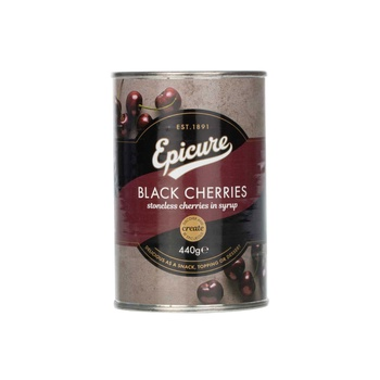 Epicure stoneless black cherry in syrup 440g