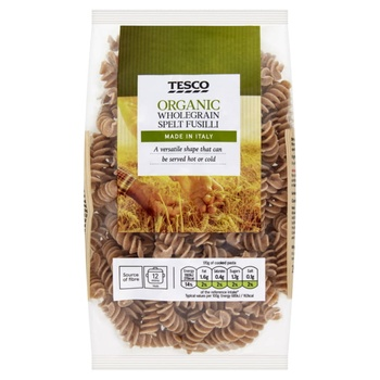 Tesco Organic Whole Wheat Spelt Fusilli 250g