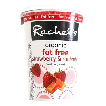 Rachel's Organic Fat Free Bio Live Yoghurt Strawberry & Rhubarb 450g