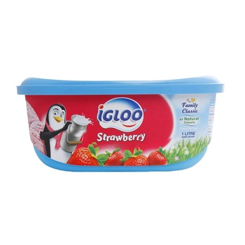 Igloo Ice Cream  Strawberry  1 Ltr
