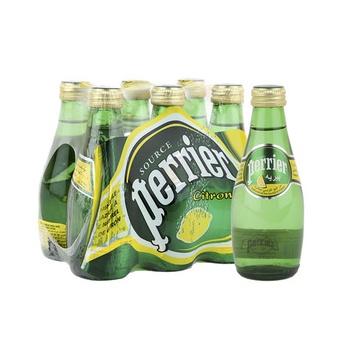 Perrier Natural Sparkling Mineral Water Lemon Glass Bottle 6X200 ml