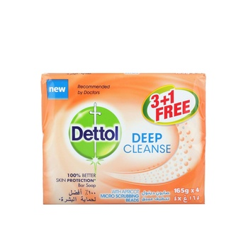 Dettol Deep Cleanse Bar Soap Family Pack 165g 3+1 Free