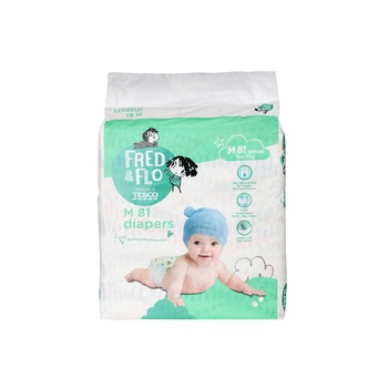 Tesco Fred & Flo Tape Diapers M 81 Pieces