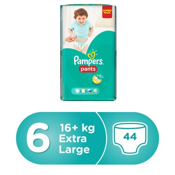 Pampers Pants Diapers, Size 6, Extra Large, 16+ Kg, Jumbo Pack, 44 Count @ 10% Off